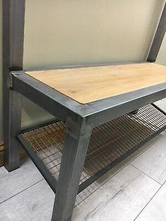 Industrial hallway steel bench with shoe / boot storage with coat rack / rail Hallway Bench, Entryway Tables, Boot Storage, Oak Bench, How To Store Shoes, Coat Rail, Storing Shoes, Boot Rack, Solid Oak