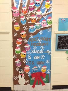 Bring some good cheer to your classroom with this holiday classroom doors and winter classroom door ideas. Christmas Classroom Door, Owl Theme Classroom, Christmas Owls, Christmas Holidays, Winter Holiday, Classroom Ideas, Christmas Door Decorating Contest, Christmas Door Decorations, Owl Door Decorations