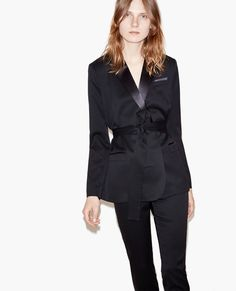 Belted suit jacket with satin details - The Kooples