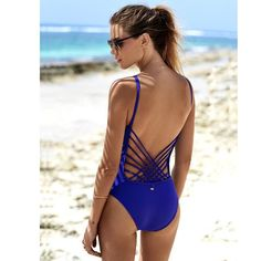 Strappy Blue One Piece Swimsuit