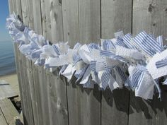 Blue and White Seersucker and Burlap by RagWreathBoutique