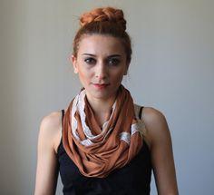 80 inch infinity scarf / tan lace shawl by fashioncesa on Etsy, $19.90