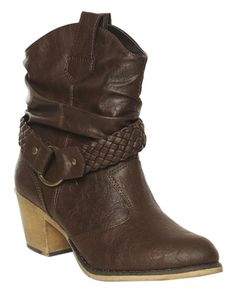 Braided Short Cowboy Boot from Wet Seal