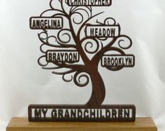 Family tree glass led block. Our grandchildren. by AtticHouse