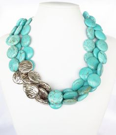 Turquoise and Silver Necklace - Asymmetrical Turquoise Statement Necklace on Etsy, $69.00