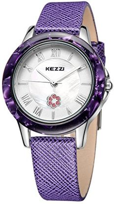 Kezzi Womens Watches K1177 Fashion Luxury Quartz Analog Crystal Pearl Purple Leather Watch *** Click image for more details.