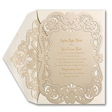 Fancy That - Invitation with Laser Liner Item # Can't get enough lace? Then this laser-cut, gold shimmer wedding invitation with a lacy border will strike your fancy. A laser-cut envelope liner adds to the romance. Discount Wedding Invitations, Wedding Invitation Trends, Wedding Trends, Wedding Stationery, Wedding Designs, Wedding Ideas, Wedding Inspiration, Wedding Stuff, Laser Cut Invitation