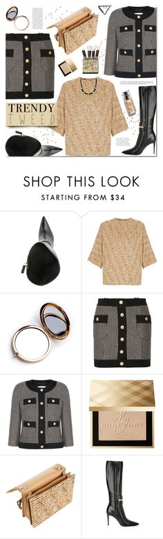 """""""Trendy Tweed"""" by prigaut ❤ liked on Polyvore featuring Gucci, Rochas, Odeme, Pierre Balmain, Burberry, polyvoreeditorial and trendytweed"""
