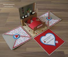 Geschenkbox Hochzeit Bett Überraschungsbox Explosionsbox Geschenkgutschein Geldgeschenk Wohnungseinrichtung Möbel