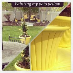 Easy Outdoor DIY: How to Spray Paint Resin Pots - Tatertots and Jello Spray Paint Flowers, Yellow Spray Paint, Spray Paint Plastic, Painting Plastic, Spray Painting, Painting Pots, Painting Furniture, Plastic Planters, Resin Planters