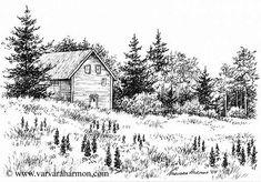 Ink Sketches of Barns | ... - Artist and Illustrator - Original Paintings, Pen, Pencil Drawings