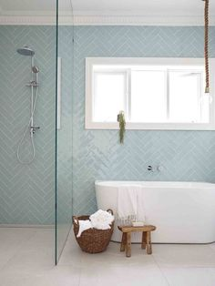 12 Dreamy Bathroom Tile Trends in 2017 is part of Luxury bathroom tiles 12 BATHROOM TILE TRENDS for 2017 Bathroom tiles are practical, durable and can help you to create great design features An i - Laundry In Bathroom, Patterned Bathroom Tiles, Luxury Bathroom Tiles, Trendy Bathroom, Small Bathroom, Bathroom Renovations, Amazing Bathrooms, Back To Wall Bath, Bathroom Flooring