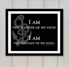 Invictus, William Ernest Henley, Wall Art Typography Print, Inspirational Quote, Steampunk Decor, Literature Poster, Literary Art