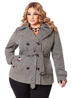Tweed Peacoat Woman Coats woman within winter coats plus size Diva Fashion, Curvy Fashion, Plus Size Fashion, Plus Size Outerwear, Plus Size Coats, Plus Size Womens Clothing, Plus Size Outfits, Size Clothing, Tweed