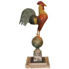 Thomas Langan Wooden and Tin Folk Art Sculpture of a Rooster   From a unique collection of antique and modern sculptures and carvings at http://www.1stdibs.com/furniture/folk-art/sculptures-carvings/