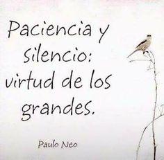 Paciencia y silencio virtud de los grandes. Paulo Neo
