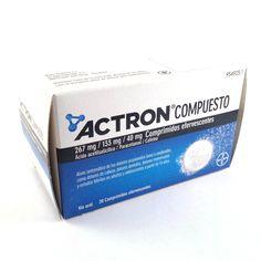 Actron compuesto BAYER HEALTH 267mg/133mg/40mg. 20 Comprimidos efervescentes Medicamento para aliviar el dolor de cabeza.