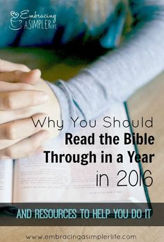 Reading the Bible in a year brings perspective and understanding. I would like to challenge you to read through the Bible in 2016. Here are some suggested resources to help you do it!