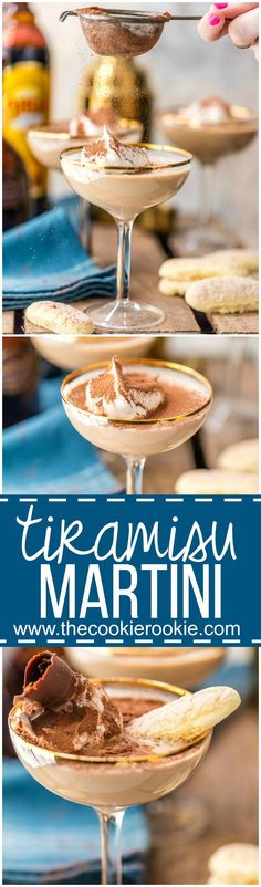 We love dessert cocktails! An easy Tiramisu Martini is one of my favorite party drinks, so creamy and delicious! Coffee, chocolate, cream, all the best flavors! Dessert drinks at its best!: