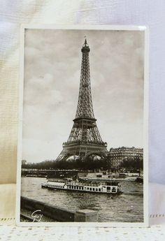 Antique French Postcard, Eiffel Tower,/ French Decor / Vintage Decor / Parisian Decor. $7.00, via Etsy.