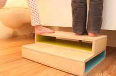 Wow, who knew it was so hard to find cool modern step stools for kids! No curliecue letters, no cartoon frogs -- just 7 beautiful handmade designs.