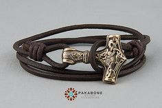 Viking Bracelet Wristband Mens Womens Leather Bracelet with a Thor's Hammer Mjollnir Mjolnir Mjölnir Solid Bronze