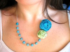 Beyond the Sea fabric flower necklace beaded rosette