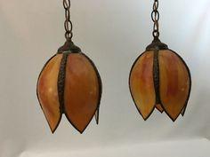 2 Vintage Burnt Orange Marble Slag Glass Hanging Pendant Ceiling Lights