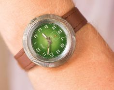 Vintage wristwatch mens  gents watch green face  by SovietEra, $57.00