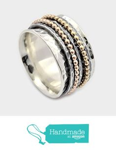 Five Band Spinner Ring, Silver and Gold Spinner Ring, Wide Spinner Ring, Meditation Ring, Worry Ring, Silver Fidget Ring, spinner band ring from By Nature Jewellery https://www.amazon.com/dp/B01JLIZFL0/ref=hnd_sw_r_pi_dp_OcfsybH5E28RF #handmadeatamazon