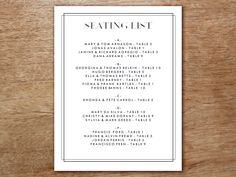 A wedding seating list that is easy to make and a delight to look at. Just enter guest names and table numbers into this neoclassical black and white seating template and print. You can print as many as you need in just minutes.
