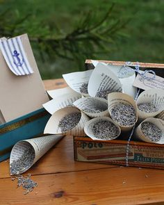 Tossing lavendar instead of rice? And I love the book page holders. So pretty!