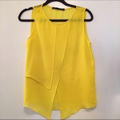 Zara blouse Sheer yellow Zara blouse, great condition. Zara Tops Blouses