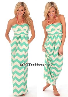 Mint & Cream Chevron Maxi Dress | Affordable and Trendy Boutique Clothing | Cute Spring Maxi Dresses. It has freaking pockets. I want this dress so bad it's ridiculous.