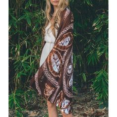 """""""Dust"""" Kimono Tie Dye Cocoon Cardigan Tie dye kimono cardigan scarf. Available in black, navy, purple, mocha. This listing is for the MOCHA. One size fits most. Brand new Bare Anthology Sweaters Cardigans"""