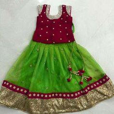 Different types of kids lehenga choli designs - ArtsyCraftsyDad Indian Dresses For Girls, Dresses Kids Girl, Kids Outfits, Baby Dresses, Nice Dresses, Baby Lehenga, Kids Lehenga Choli, Kids Lehanga, Frocks For Girls