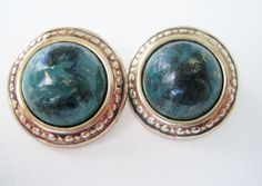 Vintage 80s Hollywood Regency Retro Gold Marbled Earrings by ThePaisleyUnicorn, $3.00