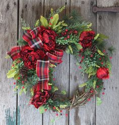 Your place to buy and sell all things handmade Christmas Front Doors, Wreaths For Front Door, Door Wreaths, Grapevine Wreath, Rustic Christmas, Christmas Holidays, Christmas Wreaths, Red Peonies, Winter Wreaths