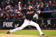 CLEVELAND, OH - OCTOBER 26:  Dan Otero #61 of the Cleveland Indians throws a pitch during the seventh inning against the Chicago Cubs in Game Two of the 2016 World Series at Progressive Field on October 26, 2016 in Cleveland, Ohio.  (Photo by Jason Miller/Getty Images)