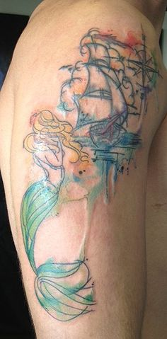 Extreme Mermaid Watercolor Tattoo on Thigh - Sail boat, compass