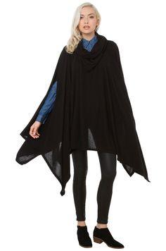 Cowl Neck Poncho Sweater in Black | AKIRA