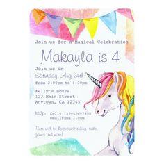 Rainbow Invitations, Unicorn Birthday Invitations, Unicorn Themed Birthday, Rainbow Birthday, Horse Birthday, Girl Birthday, Birthday Ideas, Birthday Gifts, Rainbow Unicorn