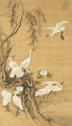 Nine White Egrets, 1725, Leng Mei