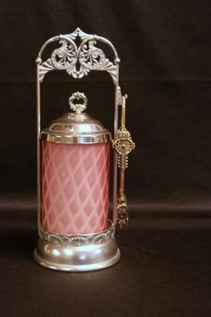 Antique Diamond Quilted Satin Glass Pickle Castor