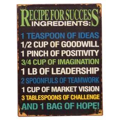 Recipe For Success Wall Sign