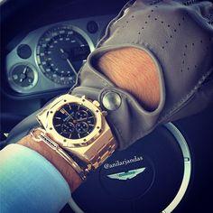Anil Arjandas : Driving day with Audemars Piguet royal oak, Anil Arjandas Jewels, Hermes driving gloves and Aston Martin DB9 .