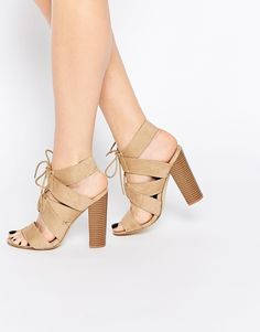 Image 1 ofNew Look Lace Up Block Heeled Sandals
