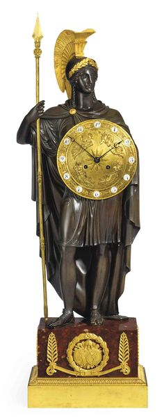 c1820 A RESTAURATION BRONZE, ORMOLU AND ROUGE GRIOTTE MARBLE STRIKING FIGURAL MANTEL CLOCK: 'STANDING ATHENA' AFTER THE MODEL BY GÉRARD-JEAN GALLE. CIRCA 1820 Price realised GBP 20,000