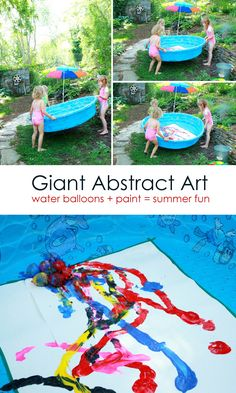 Giant Abstract Art: water balloon painting in the pool -- such a fun idea for a kids summer art activity!