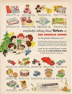 Ben Franklin Toy Store Toytown Vintage 1950s Christmas Print Ad